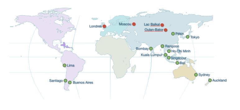Carte de notre itineraire de tour du monde